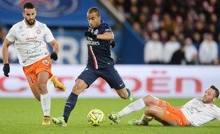 Lucas lors du match entre le PSG et Montpellier le 20 décembre 2014.