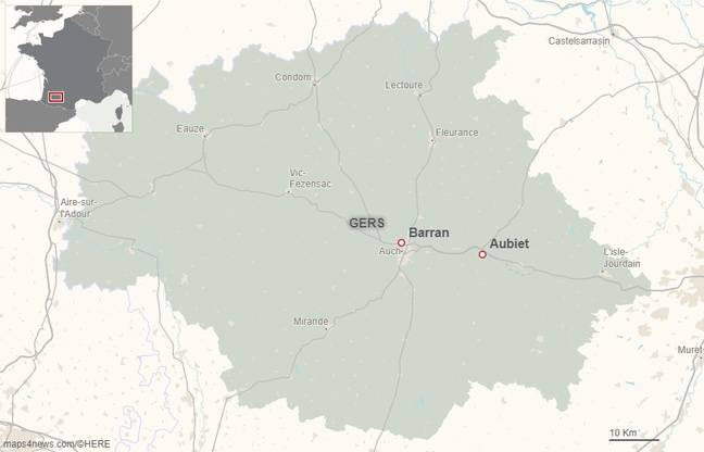 Les communes de Barran et d'Aubiet, dans le Gers.