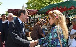 Christian Estrosi (g), maire de Nice et candidat UMP aux régionales de décembre, en campagne sur un marché du Pontet, dans le Vaucluse, le 28 mai 2015