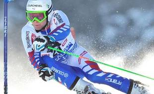 Alexis Pinturault est monté sur la deuxième place du podium du Géant le 23 octobre 2011, pendant la Coupe du monde de ski qui se déroule à Sölden en Autriche.