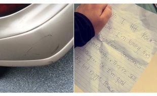 Le jeune homme a bien ri en découvrant le message insolite que lui a laissé le conducteur qui a embouti sa voiture.