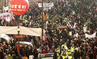 Manifestation à Paris, à l'occasion de la journée d'action interprofessionnelle du 29 janvier 2009.