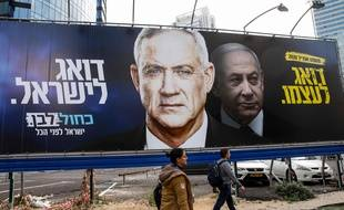 Une affiche électorale en faveur de Benny Gantz, principal rival de Benjamin Netanyahu, lors des législatives de mars en 2020.