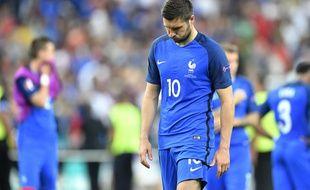 André-Pierre Gignac déçu après la défaite de la France lors de la finale de l'Euro 2016, le 11 juillet 2016 à Paris.