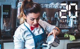 Illustration d'une barista préparant un café au lait