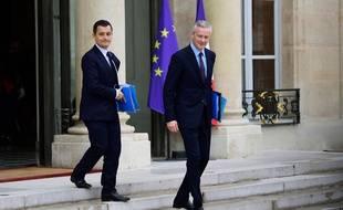 Bruno Le Maire et Gérald Darmanin à la sortie de l'Elysée le 12 juillet 2017.