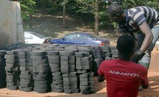 Des Camerounais transportent des déchets plastiques recyclés en pavs le 1er février 2016 à Yaoundé