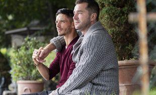 Alexandre et Mathieu, à l'automne 2020, lors du tournage du bilan de la saison 15 de L'Amour est dans le pré.