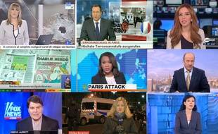 Les JT du monde entier relatent l'attentat à Charlie Hebdo