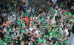 Le kop nord du Chaudron, où se trouvent les Magic Fans, ici lors de la réception de Troyes en Ligue 1 le 22 avril.