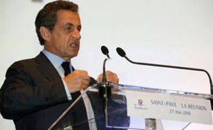 Le président des Républicains Nicolas Sarkozy, lors d'un discours à Saint-Paul à La Réunion le 27 mai 2016
