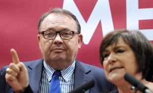 Patrick Mennucci et Marie-Arlette Carlotti lors d'une conférence de presse le 25 mars 2014 à Marseille