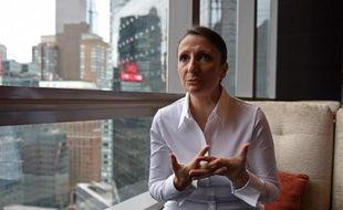 Anne-Sophie Pic dans son restaurant lors d'une interview à l'AFP le 2 octobre 2014 à New York