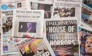 La presse américaine met Trump à la une, le 9 novembre 2016, au lendemain de son élection à la présidentielle.