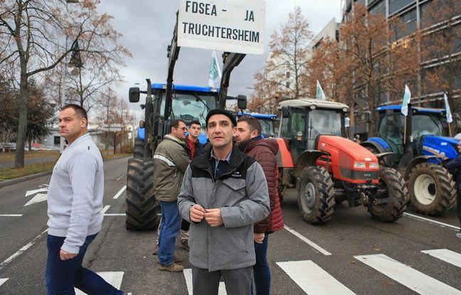 Les agriculteurs de la FDSEA et de JA devant la DREAL à Strasbourg.