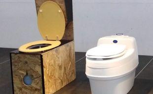 Deux modèles, l'un low tech et l'autre high- tech de toilettes sèches.