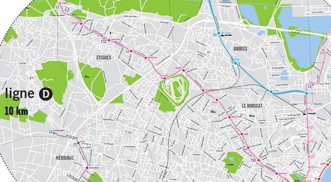 Tracé de la future ligne D du tramway à Bordeaux