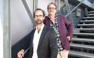 Cedric Herrou et Michel Toesca, le 18 mai 2018 au Palais des festivals de Cannes