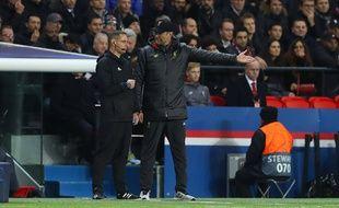 Jurgen Klopp mécontent de l'arbitrage lors de PSG-Liverpool, le 28 novembre 2018.