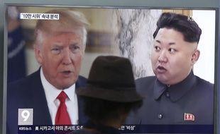 Donald Trump et Kim Jong-un à la télévision sud-coréenne, le 10 août 2017.