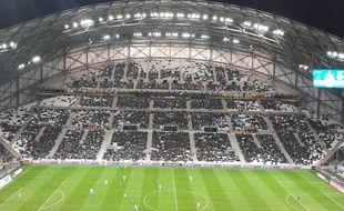La tribune Ganay du stade Vélodrome, lors de OM-Caen le 27 février 2015.