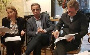 Laure Curvale (Pessac), Pierre Hurmic (Bordeaux) et Clément Rossignol (Bègles) ont présenté, le 27 février 2020, le programme des écolos pour la Métropole.