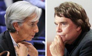 Montage de deux photos montrant la patronne du FMI Christine Lagarde et Bernard Tapie