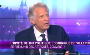 Dominique de Villepin sur iTélé le 15 février 2015.