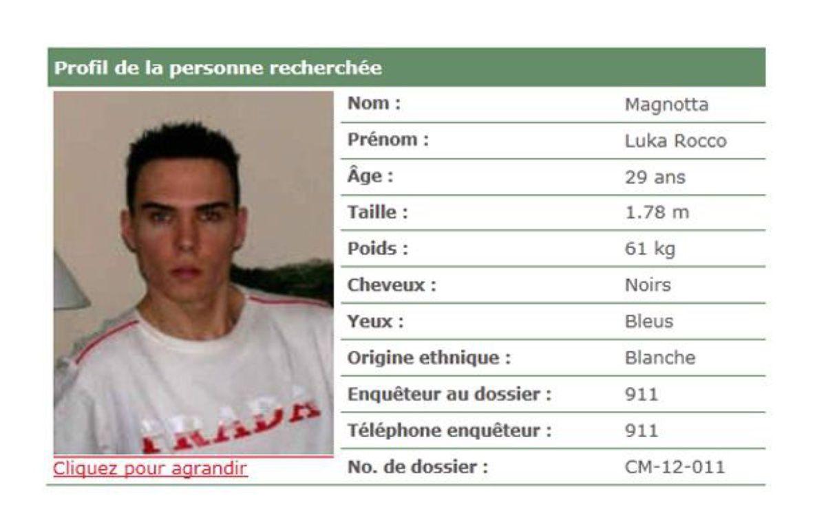 Capture d'écran de l'avis de recherche de Luka Rocco Magnotta émis par la police de Montréal. – 20 MINUTES