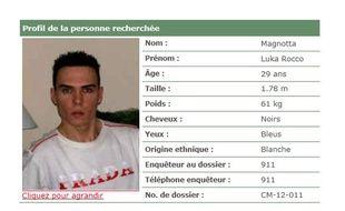 Capture d'écran de l'avis de recherche de Luka Rocco Magnotta émis par la police de Montréal.