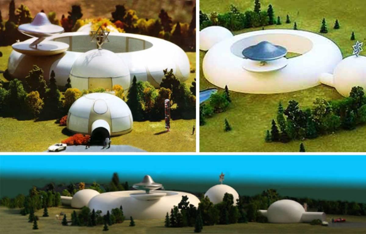 Maquette de l'ambassade que les Raéliens voudraient construire pour accueillir le retour des extra-terrestres sur Terre. – ELOHIM EMBASSY