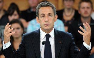 Nicolas Sarkozy, le 2 septembre 2011, lors d'une table ronde à Sainte-Marguerite, dans l'est de la France.