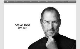 Steve Jobs sur la page d'accueil du site d'Apple, le 6 octobre 2011.