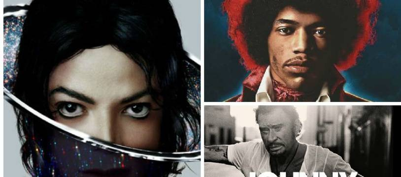 Michael Jackson, Jimi Hendrix, Johnny Hallyday connaissent le succès au-delà de leur mort