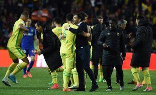 La joie des Nantais à la fin de FCN-Lorient (0-1).
