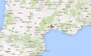 Géolocalisation de la ville de Montpellier (Hérault).