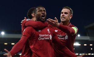 La joie du milieu de terrain de Liverpool, Georginio Wijnaldum, auteur d'un doublé lors de la demi-finale du match aller de football entre Liverpool et Barcelone.