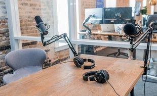 Illustration d'un studio de podcast