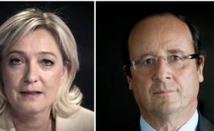 Montage fait le 12 avril 2012 de portraits de la présidente du Front National  Marine Le Pen et du président François Hollande