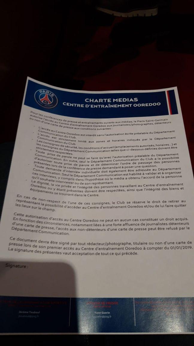 La charte distribuée aux suiveurs du PSG samedi dernier.