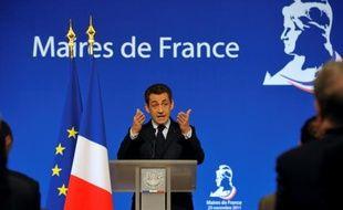 Nicolas Sarkozy lors de son discours aux maires, à l'Elysée, le 23 novembre 2011.