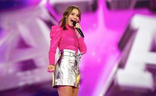 Carla, lors des répétitions sur la scène de l'Eurovision Junior, le 21 novembre 2019.