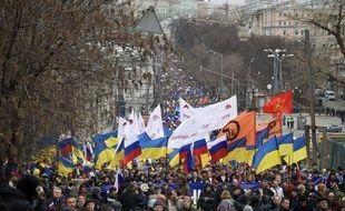 Manifestation en soutien à l'Ukraine à Moscou le 15 mars 2014.