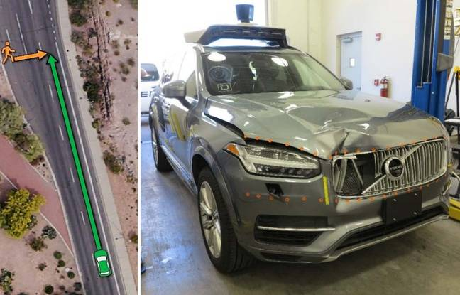 Extrait du rapport du régulateur américain des transports sur l'accident mortel impliquant une voiture autonome d'Uber du 18 mars 2018.