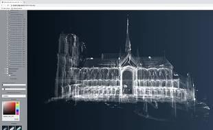 Modélisation 3D de Notre-Dame de Paris réalisée par le chantier scientifique Notre-Dame CNRS-Ministère de la Culture.