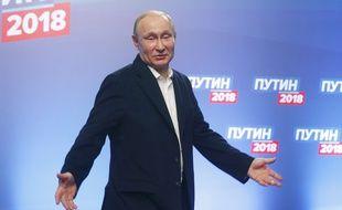 Vladimir Poutine, tout juste réélu président de la Russie, le 18 mars 2018 à Moscou.