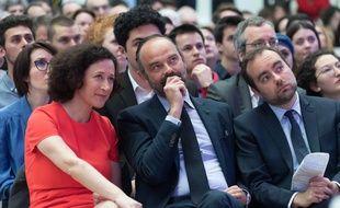 Emmanuelle Wargon, Edouard Philippe et Sébastien Lecornu le 8 avril 2019 à Paris pour la restitution du grand débat national.