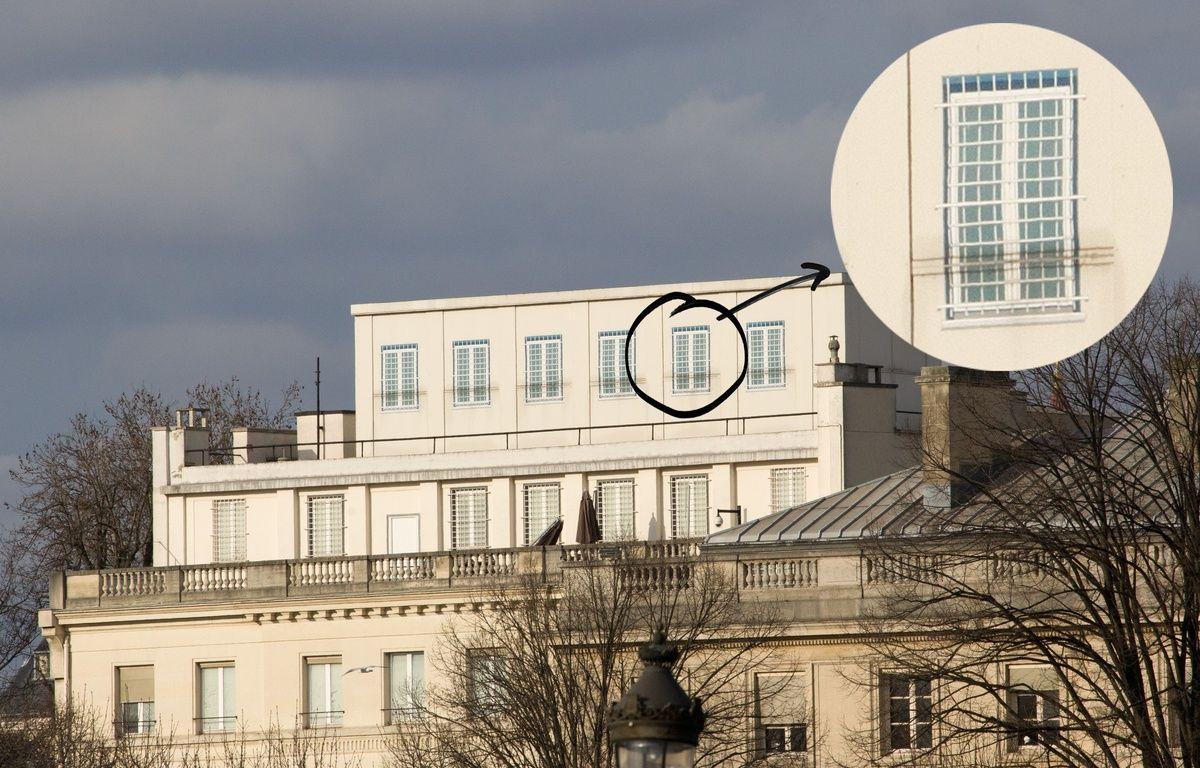 La structure sur le toit de l'ambassade des Etats-Unis à Paris, le 22 février 2015. – JPDN/SIPA