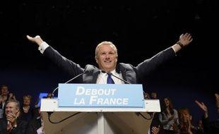 Nicolas Dupont-Aignan, chef du parti Debout la France, à Paris le 12 octobre 2014.