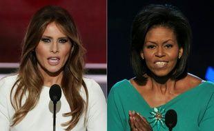 Photo montage de Melania Trump (g), femme de Donald Trump, s'adressant à la convention républicaine à Cleveland, et de Michelle Obama, le 25 août 2008 à la convention démocrate pour l'investiture de son mari